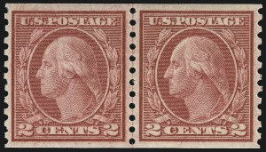 Sale Number 932, Lot Number 226, 1916-19 Rotary Press Coil Issue (Scott 486 to 497)2c Carmine, Ty. III, Coil (492), 2c Carmine, Ty. III, Coil (492)