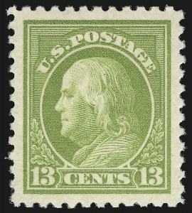 Sale Number 932, Lot Number 255, 1917-19 Issue (Scott 498 to 518)13c Apple Green (513), 13c Apple Green (513)