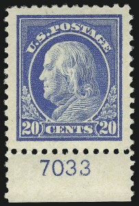 Sale Number 932, Lot Number 257, 1917-19 Issue (Scott 498 to 518)20c Light Ultramarine (515), 20c Light Ultramarine (515)