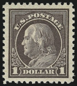 Sale Number 932, Lot Number 260, 1917-19 Issue (Scott 498 to 518)$1.00 Violet Brown (518), $1.00 Violet Brown (518)