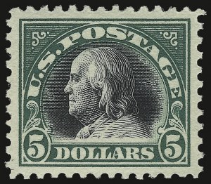 Sale Number 932, Lot Number 264, 1917 Bi-Colored Issue (Scott 523 to 524)$5.00 Deep Green & Black (524), $5.00 Deep Green & Black (524)