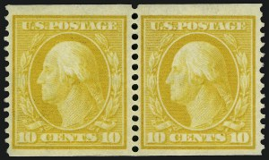 Sale Number 932, Lot Number 37, 1908-10 Coil Issue (Scott 348 to 356)10c Yellow, Coil (356), 10c Yellow, Coil (356)