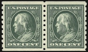 Sale Number 932, Lot Number 77, 1910-13 Coil Issue (Scott 390 to 396)1c Green, Coil (392), 1c Green, Coil (392)