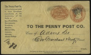 Sale Number 933, Lot Number 528, Carriers and LocalsCalifornia Penny Post Co., San Francisco, 7c Vermilion on 3c Red on Buff Entire (34LU7), California Penny Post Co., San Francisco, 7c Vermilion on 3c Red on Buff Entire (34LU7)