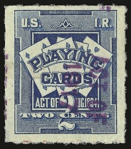 Sale Number 934, Lot Number 2373, Playing Cards Stamps7c on 2c Blue, Playing Cards, Racine Wisconsin Surcharge (RF5 var), 7c on 2c Blue, Playing Cards, Racine Wisconsin Surcharge (RF5 var)