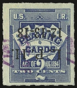 Sale Number 934, Lot Number 2374, Playing Cards Stamps7c on 2c Blue, Playing Cards, Racine Wisconsin Surcharge (RF5 var), 7c on 2c Blue, Playing Cards, Racine Wisconsin Surcharge (RF5 var)