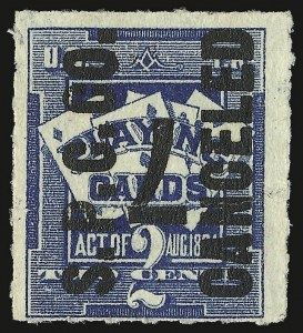 Sale Number 934, Lot Number 2378, Playing Cards Stamps7c on 2c Blue, Playing Cards, Inverted Surcharge (RF7), 7c on 2c Blue, Playing Cards, Inverted Surcharge (RF7)