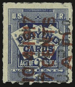 "Sale Number 934, Lot Number 2382, Playing Cards Stamps7c on 2c Blue, Playing Cards, Surcharge and ""A.D."" in red, ""U.S.P.C. Co."" in Black (RF9h), 7c on 2c Blue, Playing Cards, Surcharge and ""A.D."" in red, ""U.S.P.C. Co."" in Black (RF9h)"