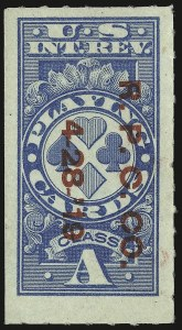 "Sale Number 934, Lot Number 2385, Playing Cards Stamps""Class A"" Blue, Playing Cards, Rouletted (RF12b), ""Class A"" Blue, Playing Cards, Rouletted (RF12b)"