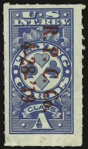 "Sale Number 934, Lot Number 2386, Playing Cards Stamps""Class A"" Blue, Playing Cards, Rouletted (RF12b), ""Class A"" Blue, Playing Cards, Rouletted (RF12b)"