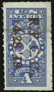 "Sale Number 934, Lot Number 2387, Playing Cards Stamps""Class A"" Blue, Playing Cards, Rouletted (RF12b), ""Class A"" Blue, Playing Cards, Rouletted (RF12b)"
