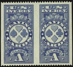"Sale Number 934, Lot Number 2389, Playing Cards Stamps""Class A"" Blue, Playing Cards, Perf 12 Horizontally, Imperforate Vertically (RF12c), ""Class A"" Blue, Playing Cards, Perf 12 Horizontally, Imperforate Vertically (RF12c)"