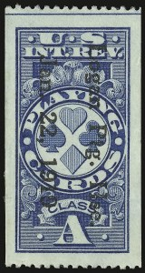 "Sale Number 934, Lot Number 2390, Playing Cards Stamps""Class A"" Blue, Playing Cards, Perf 12 Horizontally, Imperforate Vertically (RF12c), ""Class A"" Blue, Playing Cards, Perf 12 Horizontally, Imperforate Vertically (RF12c)"