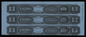 Sale Number 934, Lot Number 2662, Cigar StampsCigar Strip Stamps, Series of 1878 thru 1909 Provisional Issue, Cigar Strip Stamps, Series of 1878 thru 1909 Provisional Issue
