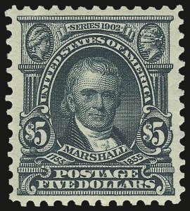 Sale Number 937, Lot Number 217, 1902-08 Issues$5.00 Dark Green (313), $5.00 Dark Green (313)