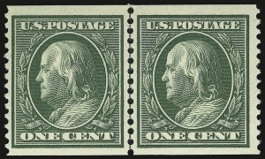Sale Number 937, Lot Number 224, Washington-Franklin and Commemorative Issues1c Green, Coil (352), 1c Green, Coil (352)