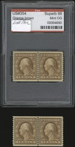 Sale Number 937, Lot Number 225, Washington-Franklin and Commemorative Issues4c Orange Brown, Coil (354), 4c Orange Brown, Coil (354)