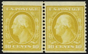 Sale Number 937, Lot Number 226, Washington-Franklin and Commemorative Issues10c Yellow, Horizontal Coil, Perf 12 (356), 10c Yellow, Horizontal Coil, Perf 12 (356)