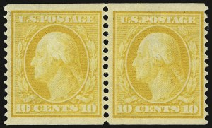 Sale Number 937, Lot Number 227, Washington-Franklin and Commemorative Issues10c Yellow, Coil (356), 10c Yellow, Coil (356)