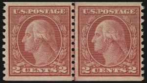 Sale Number 937, Lot Number 254, Washington-Franklin and Commemorative Issues2c Carmine, Ty. II, Coil (491), 2c Carmine, Ty. II, Coil (491)