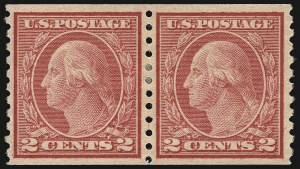 Sale Number 937, Lot Number 255, Washington-Franklin and Commemorative Issues2c Carmine, Ty. II, Coil (491), 2c Carmine, Ty. II, Coil (491)