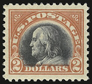 Sale Number 937, Lot Number 265, Washington-Franklin and Commemorative Issues$2.00 Orange Red & Black (523), $2.00 Orange Red & Black (523)