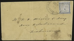 Sale Number 937, Lot Number 351, Confederate StatesFredericksburg Va., 5c Blue on Thin Bluish (26X1), Fredericksburg Va., 5c Blue on Thin Bluish (26X1)