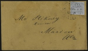 Sale Number 937, Lot Number 367, Confederate StatesUniontown Ala., 5c Green on Gray Blue (86X4), Uniontown Ala., 5c Green on Gray Blue (86X4)