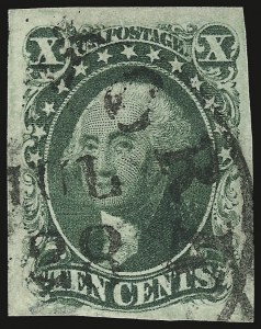 Sale Number 937, Lot Number 55, 1851-56 Issue10c Green, Ty. IV (16), 10c Green, Ty. IV (16)