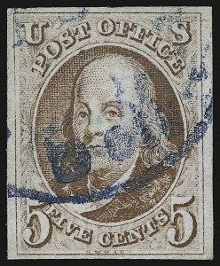 Sale Number 938, Lot Number 1010, 1847 Issue5c Red Brown (1), 5c Red Brown (1)