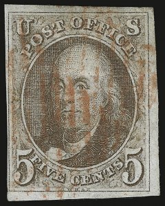 Sale Number 938, Lot Number 1014, 1847 Issue5c Brown (1), 5c Brown (1)