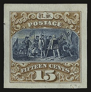 Sale Number 938, Lot Number 1251, 1875 Re-Issue of 1869 Pictorial Issue15c Brown & Blue,  Reissue, Ty. III, Panama-Pacific Small Die Proof on Wove (129P2a), 15c Brown & Blue,  Reissue, Ty. III, Panama-Pacific Small Die Proof on Wove (129P2a)