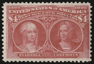 Sale Number 938, Lot Number 1400, 1893 Columbian Issue$4.00 Columbian (244), $4.00 Columbian (244)