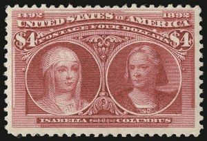 Sale Number 938, Lot Number 1401, 1893 Columbian Issue$4.00 Columbian (244), $4.00 Columbian (244)