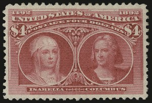 Sale Number 938, Lot Number 1402, 1893 Columbian Issue$4.00 Columbian (244), $4.00 Columbian (244)