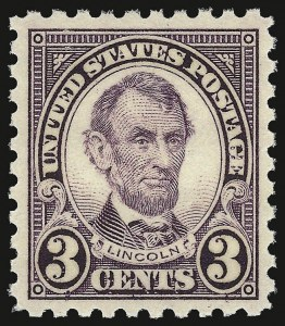 Sale Number 938, Lot Number 1749, 1922-29 and Later Issues (Scott 551 to 2866b)3c Violet, Perf 10 (584), 3c Violet, Perf 10 (584)