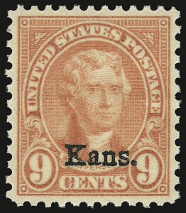 Sale Number 938, Lot Number 1778, 1922-29 and Later Issues (Scott 551 to 2866b)9c Kans. Ovpt. (667), 9c Kans. Ovpt. (667)