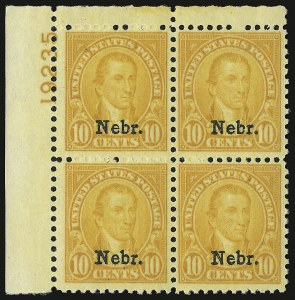 Sale Number 938, Lot Number 1780, 1922-29 and Later Issues (Scott 551 to 2866b)1c-10c Nebr. Ovpts. (669-679), 1c-10c Nebr. Ovpts. (669-679)