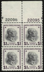 Sale Number 938, Lot Number 1790, 1922-29 and Later Issues (Scott 551 to 2866b)$1.00 Presidential, USIR Wmk. (832b), $1.00 Presidential, USIR Wmk. (832b)
