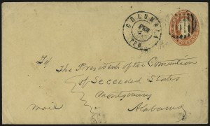 Sale Number 940, Lot Number 201, Independent State and C.S.A. Usage of U.S. StampsColumbia Ten. Feb. 3 (1861), Columbia Ten. Feb. 3 (1861)