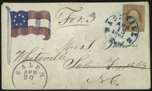 Sale Number 940, Lot Number 204, Independent State and C.S.A. Usage of U.S. StampsNashville Ten. Apr. 13, 1861, Nashville Ten. Apr. 13, 1861