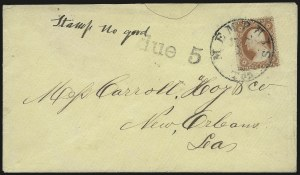 Sale Number 940, Lot Number 210, Independent State and C.S.A. Usage of U.S. StampsMemphis Ten. Jun. 1 (1861), Memphis Ten. Jun. 1 (1861)
