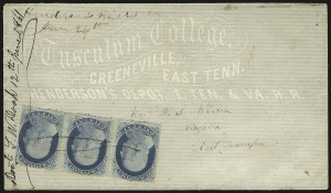 "Sale Number 940, Lot Number 211, Independent State and C.S.A. Usage of U.S. Stamps""Henderson's Mills Tn June 24th"" -- Day of Tennessee Secession Ratification, ""Henderson's Mills Tn June 24th"" -- Day of Tennessee Secession Ratification"