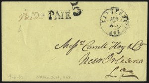 Sale Number 940, Lot Number 233, Handstamped Paid and Due MarkingsNapoleon Ark. Apr. 6, 1862, Napoleon Ark. Apr. 6, 1862