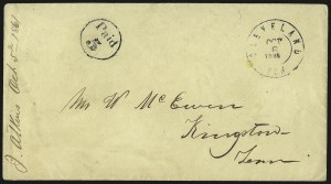 Sale Number 940, Lot Number 253, Handstamped Paid and Due MarkingsCleveland Ten. Oct. 6, 1861, Cleveland Ten. Oct. 6, 1861