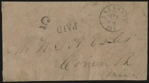 Sale Number 940, Lot Number 258, Handstamped Paid and Due MarkingsColumbia Ten. Feb. ?, 1862, Columbia Ten. Feb. ?, 1862