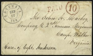 Sale Number 940, Lot Number 259, Handstamped Paid and Due MarkingsColumbia Ten. Sep. 17, Columbia Ten. Sep. 17