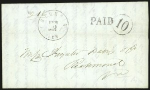 Sale Number 940, Lot Number 260, Handstamped Paid and Due MarkingsColumbia Ten. Feb. 10, 1862, Columbia Ten. Feb. 10, 1862