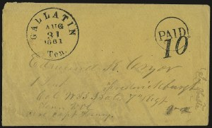 Sale Number 940, Lot Number 264, Handstamped Paid and Due MarkingsGallatin Ten. Aug. 31, 1861, Gallatin Ten. Aug. 31, 1861
