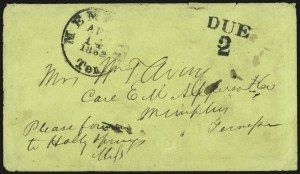 Sale Number 940, Lot Number 275, Handstamped Paid and Due MarkingsMemphis Ten. Apr. 14, 1862, Memphis Ten. Apr. 14, 1862